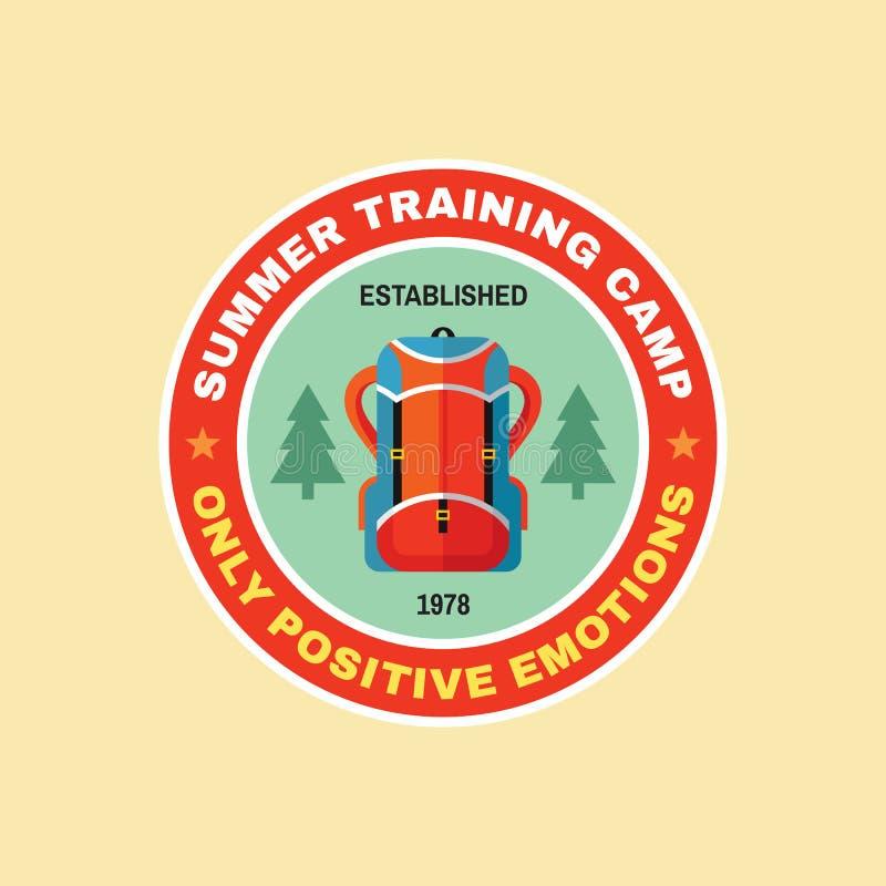 Lato obóz szkoleniowy - pojęcie odznaka w płaskim projekta stylu Przygody wyprawy rocznika okręgu kreatywnie logo Plenerowy bada ilustracja wektor