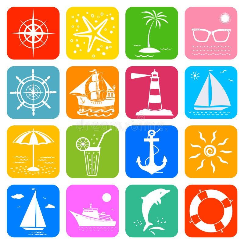 Lato oceanu wakacje podróży rejsu denne ikony ustawiać ilustracji