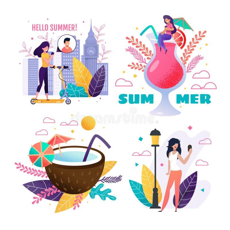 Lato odpoczynek w miasta, podróżowania i wakacje secie, ilustracja wektor