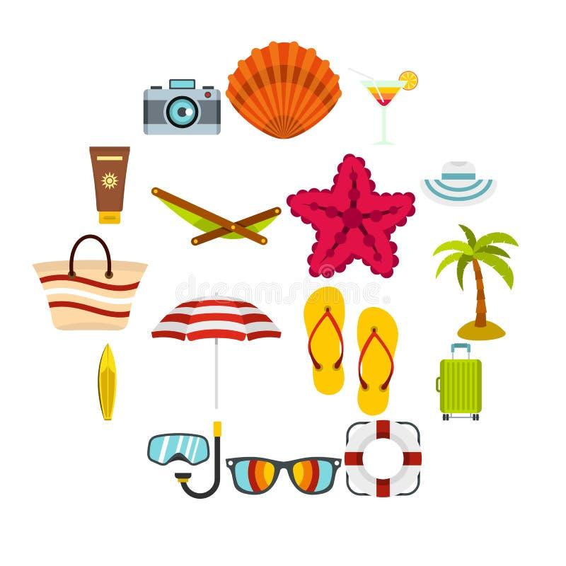 Lato odpoczynku ustalone płaskie ikony ilustracji