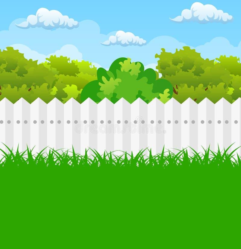 Lato ogród z krzakami i drzewem ilustracji