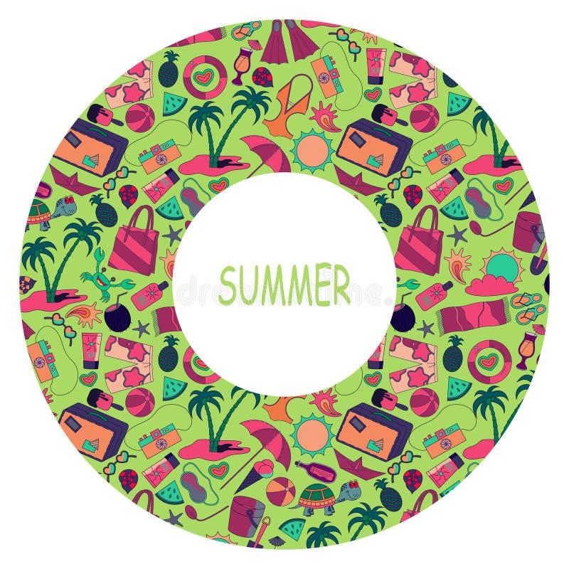 Lato okręgu podróżny szablon z plażą, wakacjami i urlopowymi lat akcesoriami, royalty ilustracja