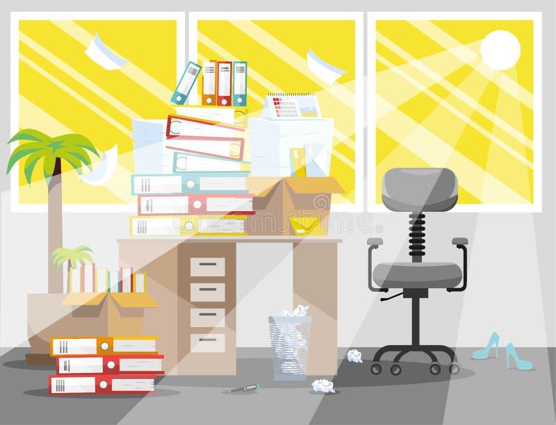 Lato okres księgowi i finansista donosi uległość Stos papierowi dokumenty i kartotek falcówki w kartonach dalej ilustracji
