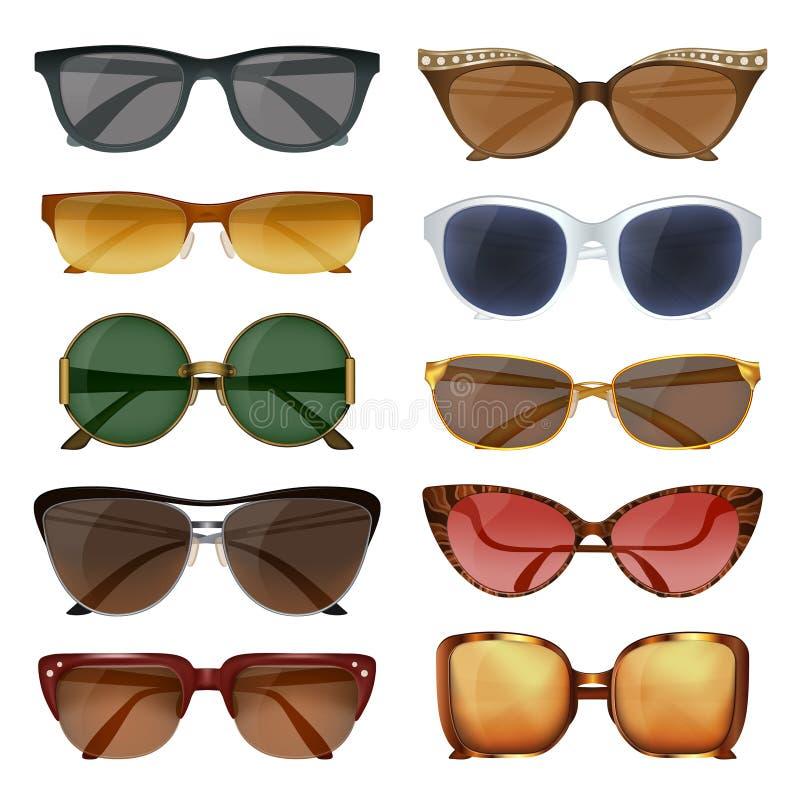 Lato okulary przeciwsłoneczni Ustawiający ilustracja wektor