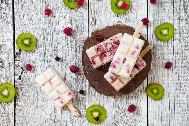 Lato owoc i jagodowy domowej roboty lolly strzelają lody 22 pocisków kaliberu grupy biel obraz stock