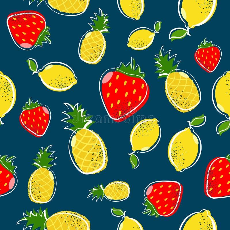 Lato owocowy bezszwowy wzór z truskawką i cytryną royalty ilustracja