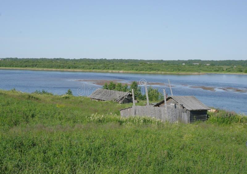 Lato Północny krajobraz, Pinega rzeka, Arkhangelsk region zdjęcia stock