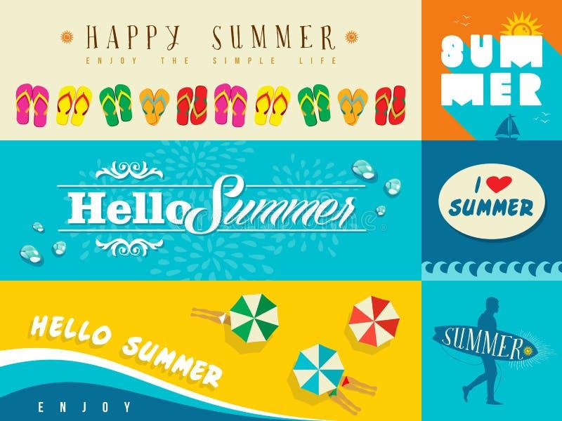Lato płaskiego sztandaru ustalona ilustracja ilustracji