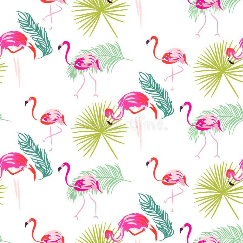Lato palmy i flaminga zwrotnik rozgałęzia się bezszwowego wzór royalty ilustracja