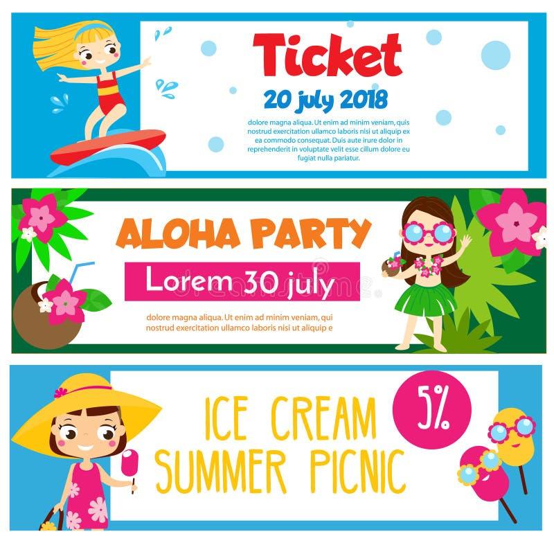 Lato partyjni sztandary Zaproszenia, reklamy z szczęśliwymi dziećmi ma plażową zabawę i aktywność royalty ilustracja