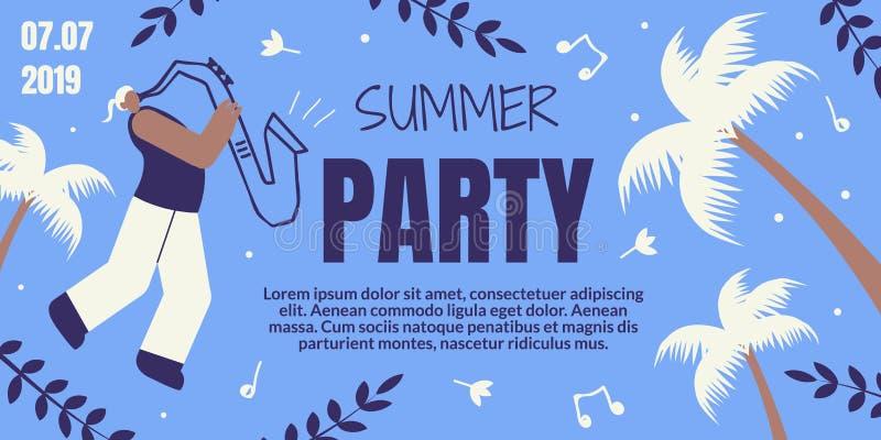 Lato Partyjny Retro Barwiony sztandar z saksofonistą royalty ilustracja
