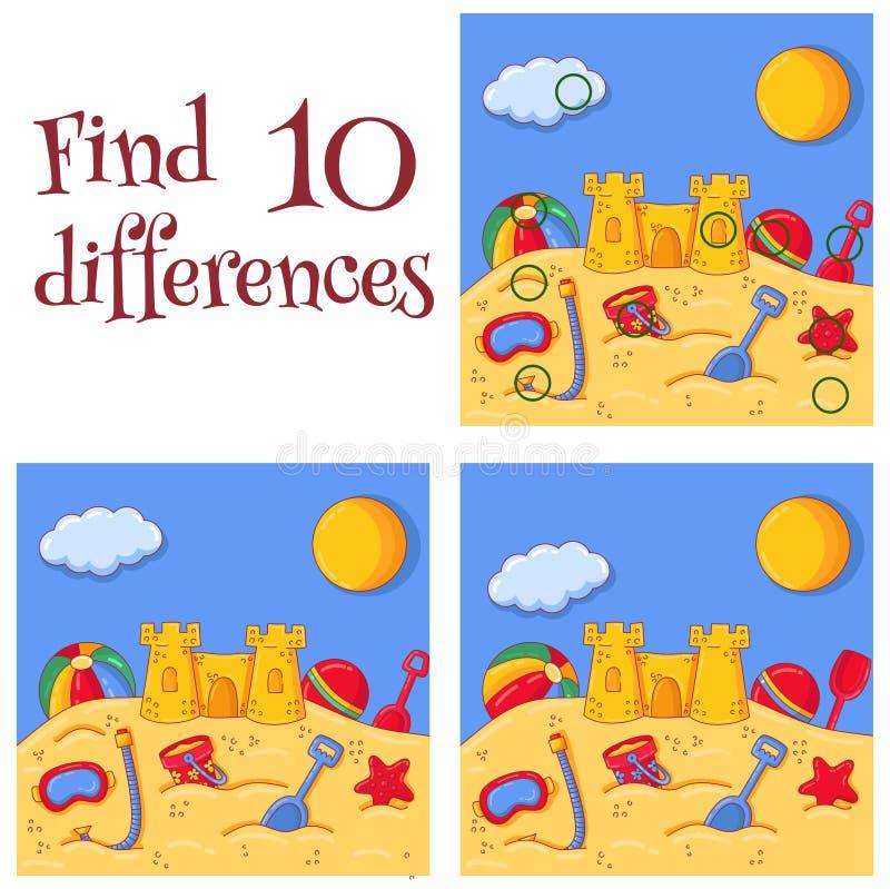 Lato piaska denny kasztel i zabawki znalezisko 10 różnic wypytujemy wektorową kreskówki ilustrację royalty ilustracja