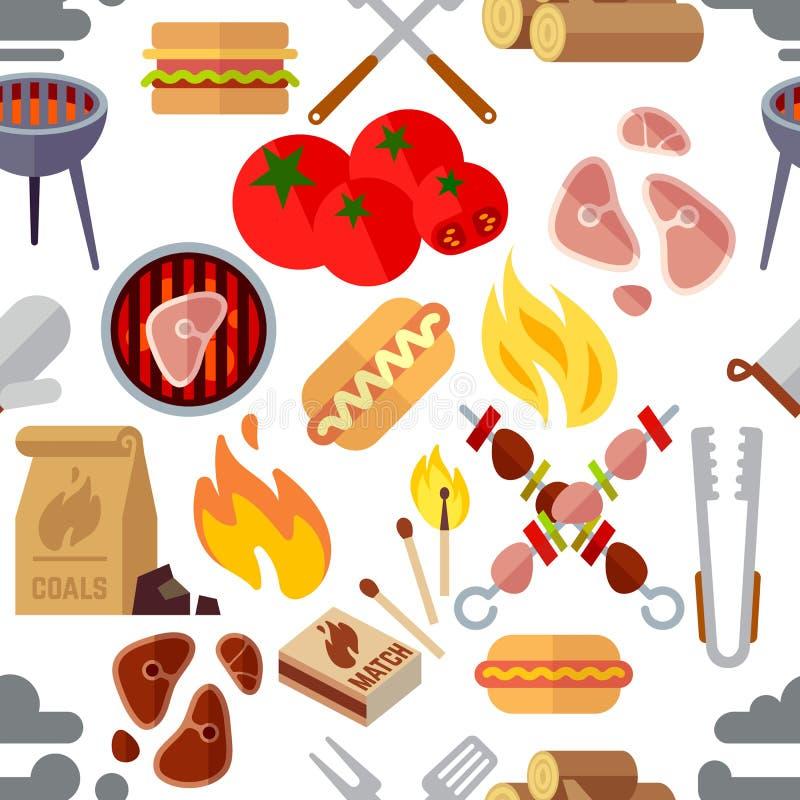 Lato pinkin, grill i piec na grillu karmowego stku wektorowa bezszwowa tekstura, ilustracja wektor
