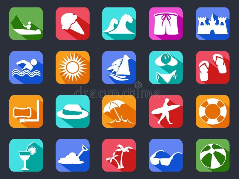 Lato plażowe płaskie ikony ustawiać z długim cieniem ilustracja wektor