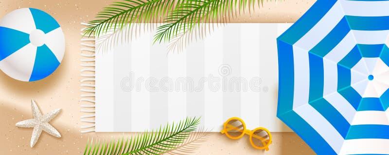 Lato plażowy horyzontalny sztandar z słońce parasolem, okularami przeciwsłonecznymi, denną gwiazdą, piłką, ręcznikiem i palmą, op ilustracja wektor