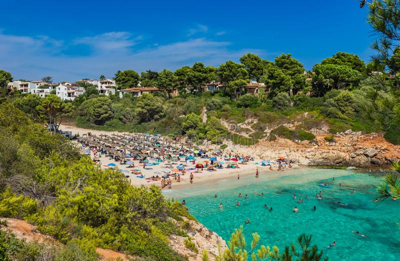 Lato plażowy wakacje przy piękną nadmorski zatoką na Majorca wyspie, Hiszpania obrazy stock