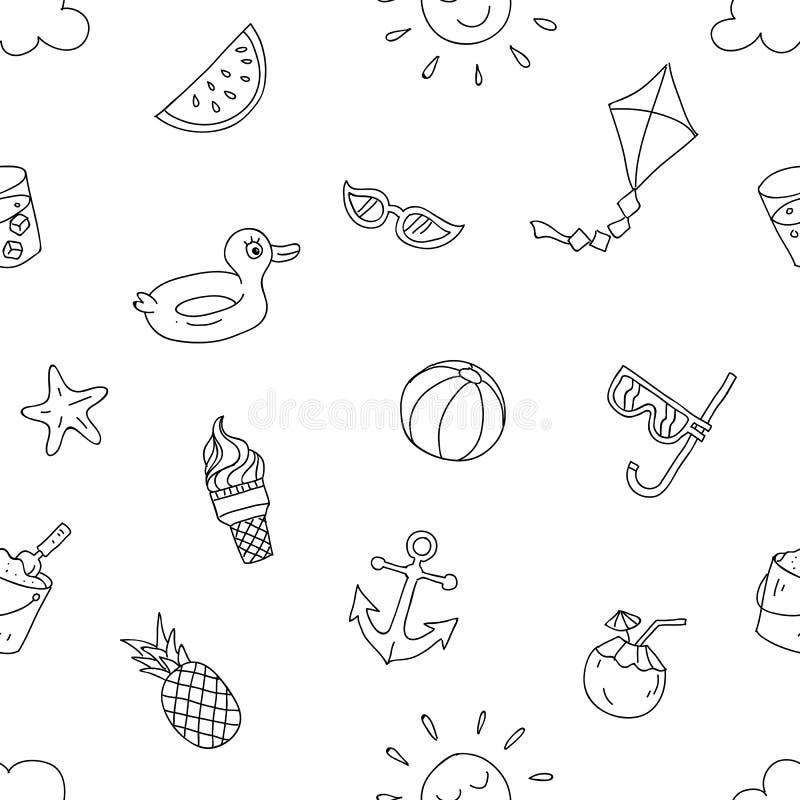 Lato plażowy wakacyjny bezszwowy wzór przygotowywający druk ręki kreskówki stylu rysunkowy projekt dla papieru, tkaniny produkcja royalty ilustracja