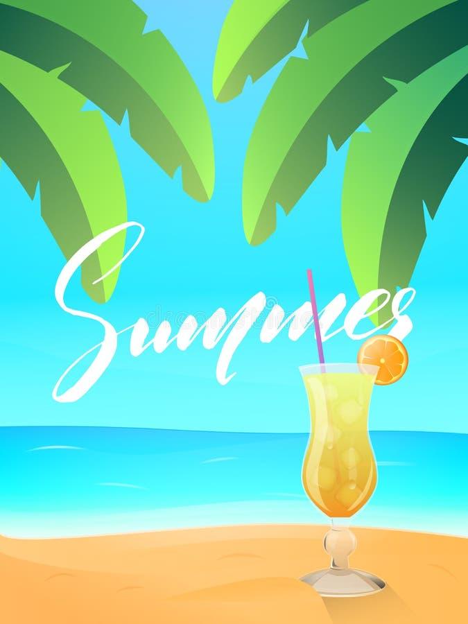 Lato Plażowy widok egzot plaża z palma liśćmi i zimnym koktajlem Tropikalna wyspa z palmami, oceanem i plażą, ilustracja wektor