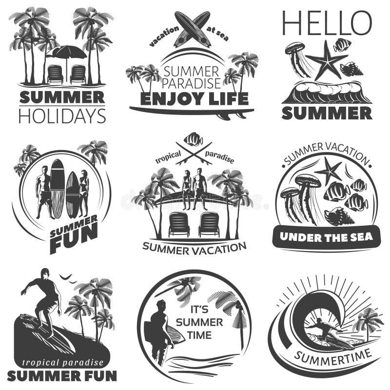 Lato plaży etykietki set ilustracja wektor