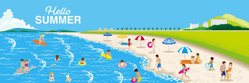 Lato plaży krajobraz, ludzie cieszy się dennego kąpanie - Zawierać słowa obrazy royalty free