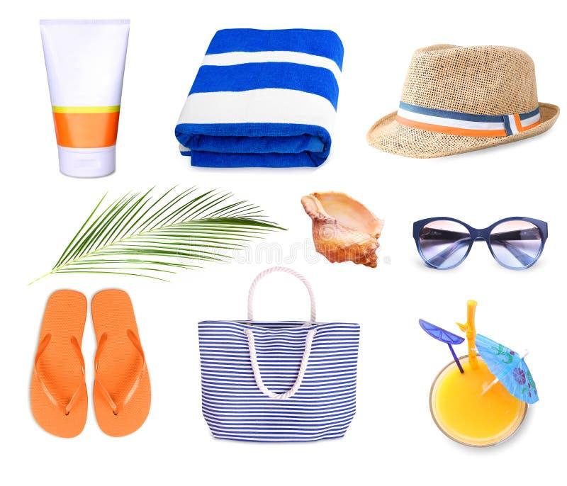 Lato plaży personel ustawiający odizolowywającym obraz royalty free