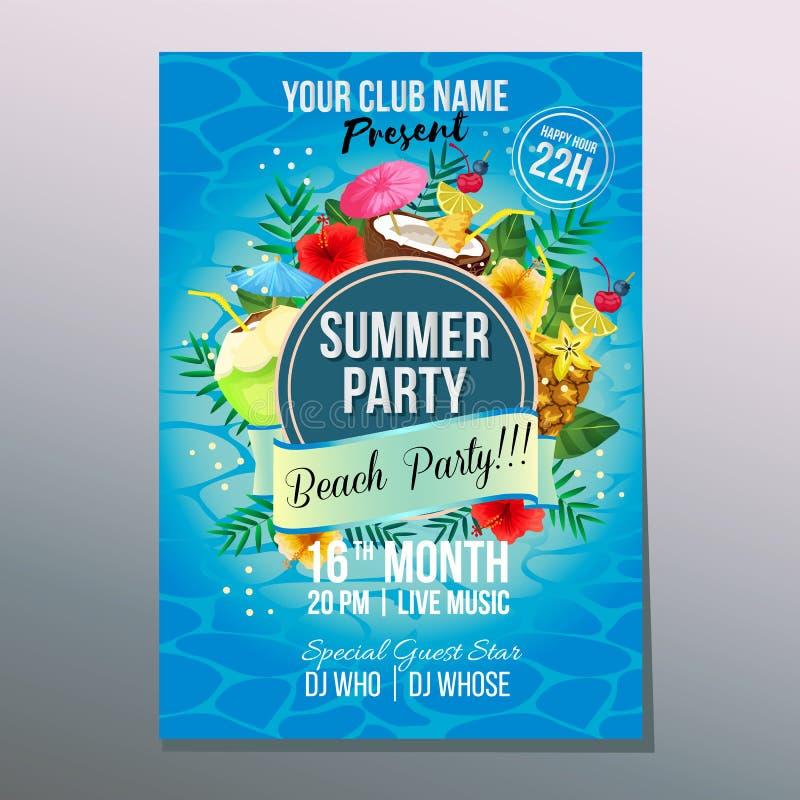 Lato plaży przyjęcia koktajlu napoju plakatowy wakacyjny element royalty ilustracja