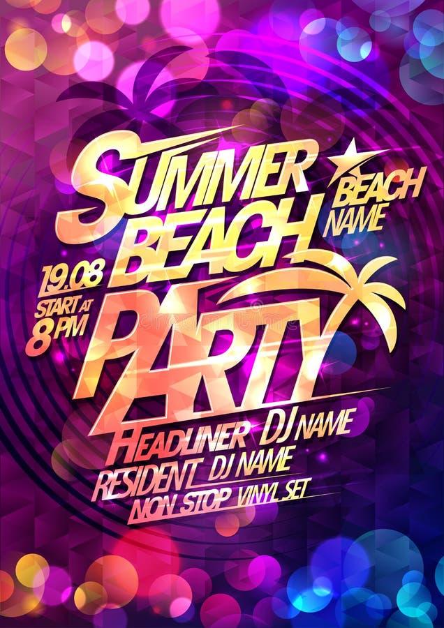 Lato plaży przyjęcia typographical plakat ilustracji