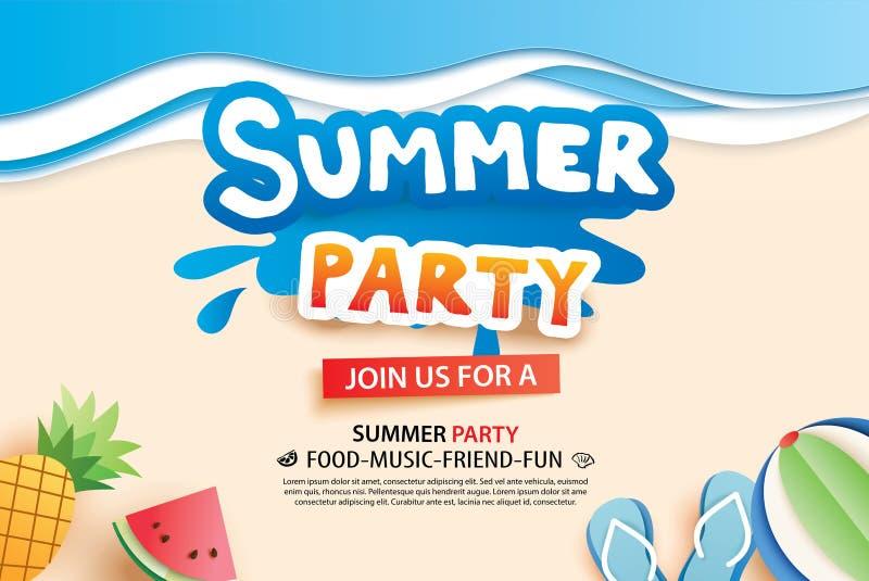 Lato plaży przyjęcie z papieru rżniętym symbolem i ikona dla zaproszenia ilustracji