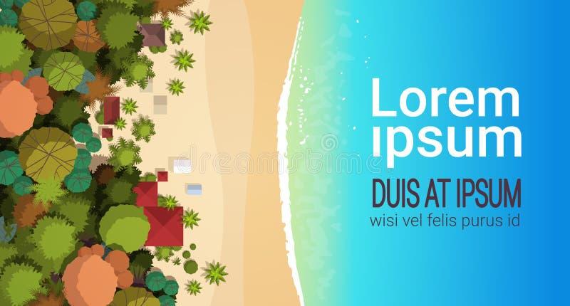 Lato plaży wakacje odgórnego kąta widoku piaska kopii przestrzeni kolorowy parasolowy tropikalny plażowy wakacyjny horyzontalny m ilustracja wektor