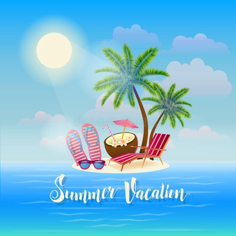 Lato plaży wakacje sztandar Egzotyczna tropikalna wyspa royalty ilustracja