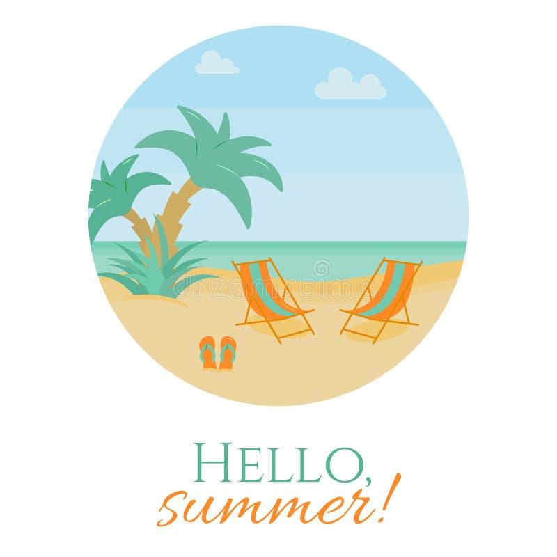 Lato plaży wakacje sztandar z holem i klapy na piasku z drzewko palmowe pobliską wodą royalty ilustracja