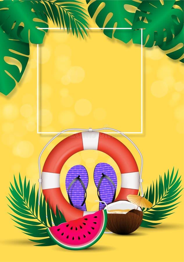Lato plakat, gorący sezonu rabata układ z kolorowymi lato elementami Pusty szablon dla sztandarów, tapeta, ulotki, zaproszenie ilustracja wektor