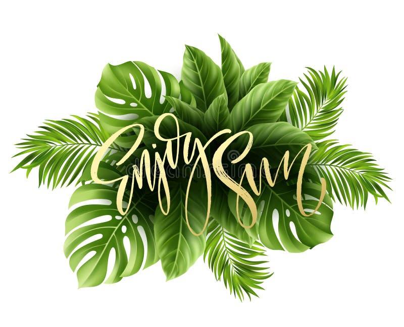 Lato plakat z tropikalnym palmowego liścia i handwriting literowaniem również zwrócić corel ilustracji wektora royalty ilustracja