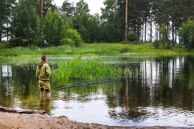 Lato połów na rzecznym Ob w Syberia zdjęcie royalty free