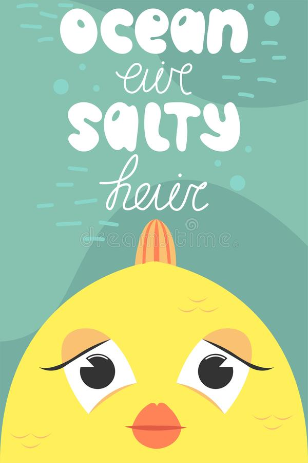 Lato pocztówka z śliczną rybą chłopiec kreskówka zawodzący ilustracyjny mały wektor Oceanu powietrze, słony włosy ilustracji