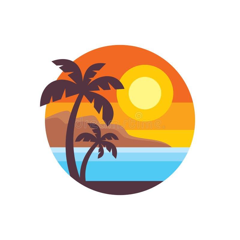 Lato podróż - pojęcie logo szablonu wektoru biznesowa ilustracja Raj urlopowa kreatywnie ikona podpisuje wewnątrz płaskiego proje royalty ilustracja