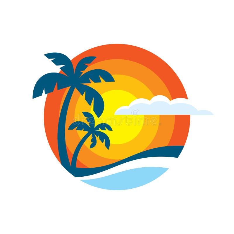 Lato podróż - pojęcie logo szablonu wektoru biznesowa ilustracja Raj urlopowa kreatywnie ikona podpisuje wewnątrz płaskiego proje ilustracja wektor