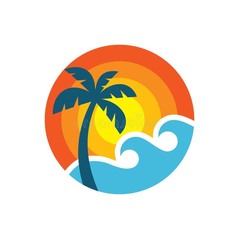 Lato podróż - pojęcie logo szablonu wektoru biznesowa ilustracja Tropikalnego raju wakacje kreatywnie ikona podpisuje wewnątrz pł ilustracja wektor