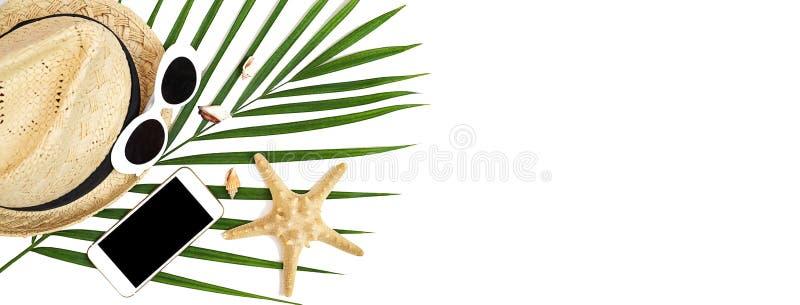 Lato podróżnika akcesoriów telefon komórkowy, słomiany kapelusz, okulary przeciwsłoneczni, seashells, rozgwiazda i tropikalny pal obraz royalty free