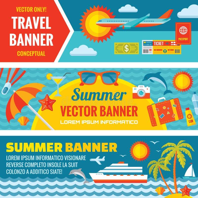 Lato podróż - dekoracyjni horyzontalni wektorowi sztandary ustawiający w mieszkanie stylu projekcie wykazywać tendencję royalty ilustracja