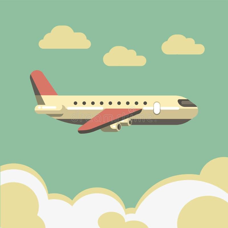 Lato podróż lub wakacje urlopowy wektorowy pasażerski samolot w niebie ilustracja wektor