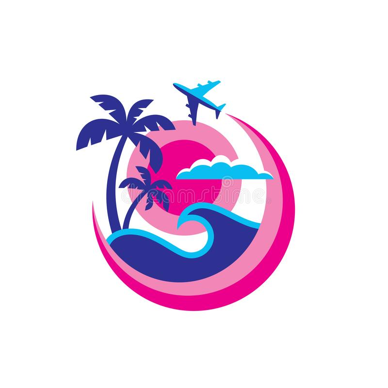 Lato podróż - pojęcie logo szablonu wektoru biznesowa ilustracja Wakacyjnego raju kreatywnie znak Morze fala, tropikalne palmy, s ilustracja wektor