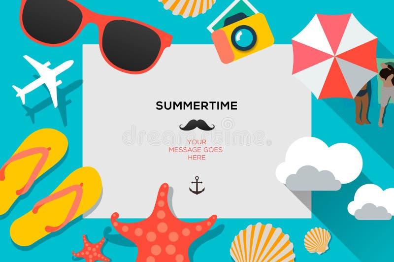 Lato podróżny szablon z plażowymi lat akcesoriami, płaski projekt, wektorowa ilustracja ilustracja wektor
