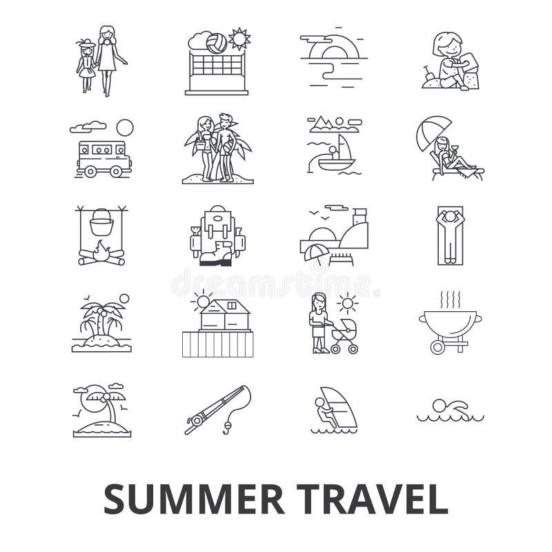 Lato podróży powiązane ikony royalty ilustracja