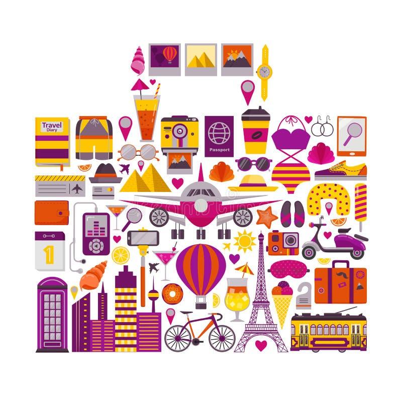 Lato podróży set w walizka kształcie ilustracja wektor