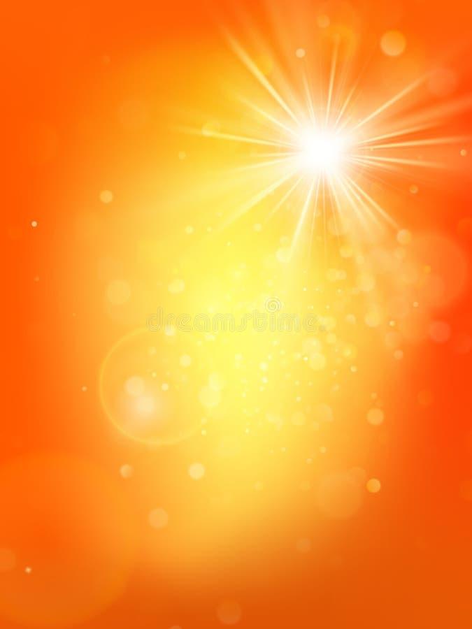 Lato pogodny gorący pomarańczowy szablon z wybuchem i obiektyw migoczemy ilustraci lekki słońca wektor ciepły 10 eps ilustracja wektor