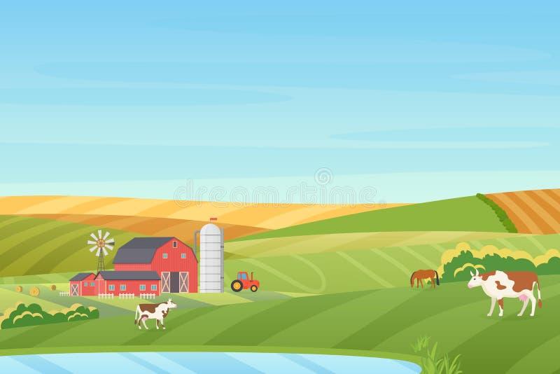 Lato pogody gospodarstwa rolnego coutryside ciepły krajobraz z eco chałupą, stajnia, wiatraczek, ciągnik, kiszonki wierza, krowa, ilustracja wektor