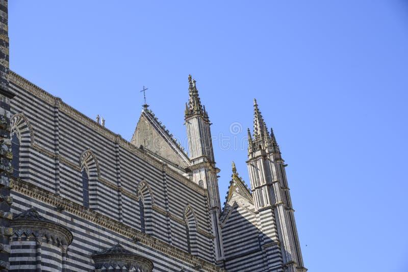 Lato posteriore della cattedrale di Orvieto, Italia uno può osservare il Th fotografie stock libere da diritti