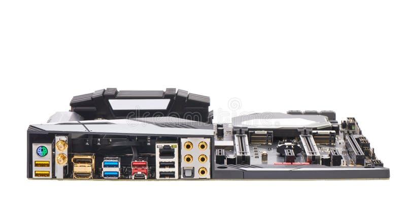 Lato posteriore della scheda madre del computer fotografia stock