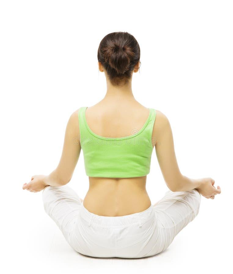 Lato posteriore di yoga, donna che medita in Lotus Position Parte posteriore femminile fotografie stock libere da diritti
